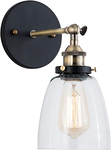 Light Society Camberly Wall Sconce, Clear Glass Shade with Antique Brass Finish, Vintage Modern Industrial Farmhouse Lighting Fixture LS-W130