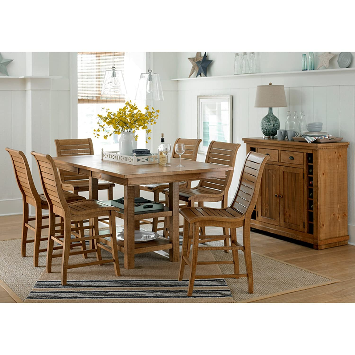 Willow upholstered dining chair narrow willow solid oak dining chair - Amazon Com Pine Rectangular Counter Complete Table Distressed Pine Table Chair Sets
