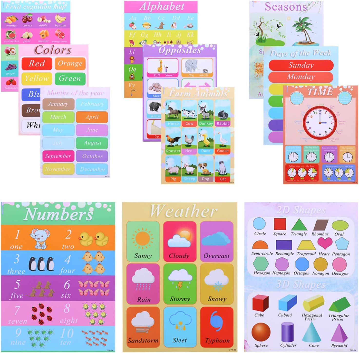 """2020 Newest Educational Posters, 12 Pieces Educational Math Posters, Classroom Posters for Home & Kindergarten & Preschool Kids- Colors, Shapes, Fruit, More Posters Kit 12 Pack (11.8"""" X 15.7"""")"""
