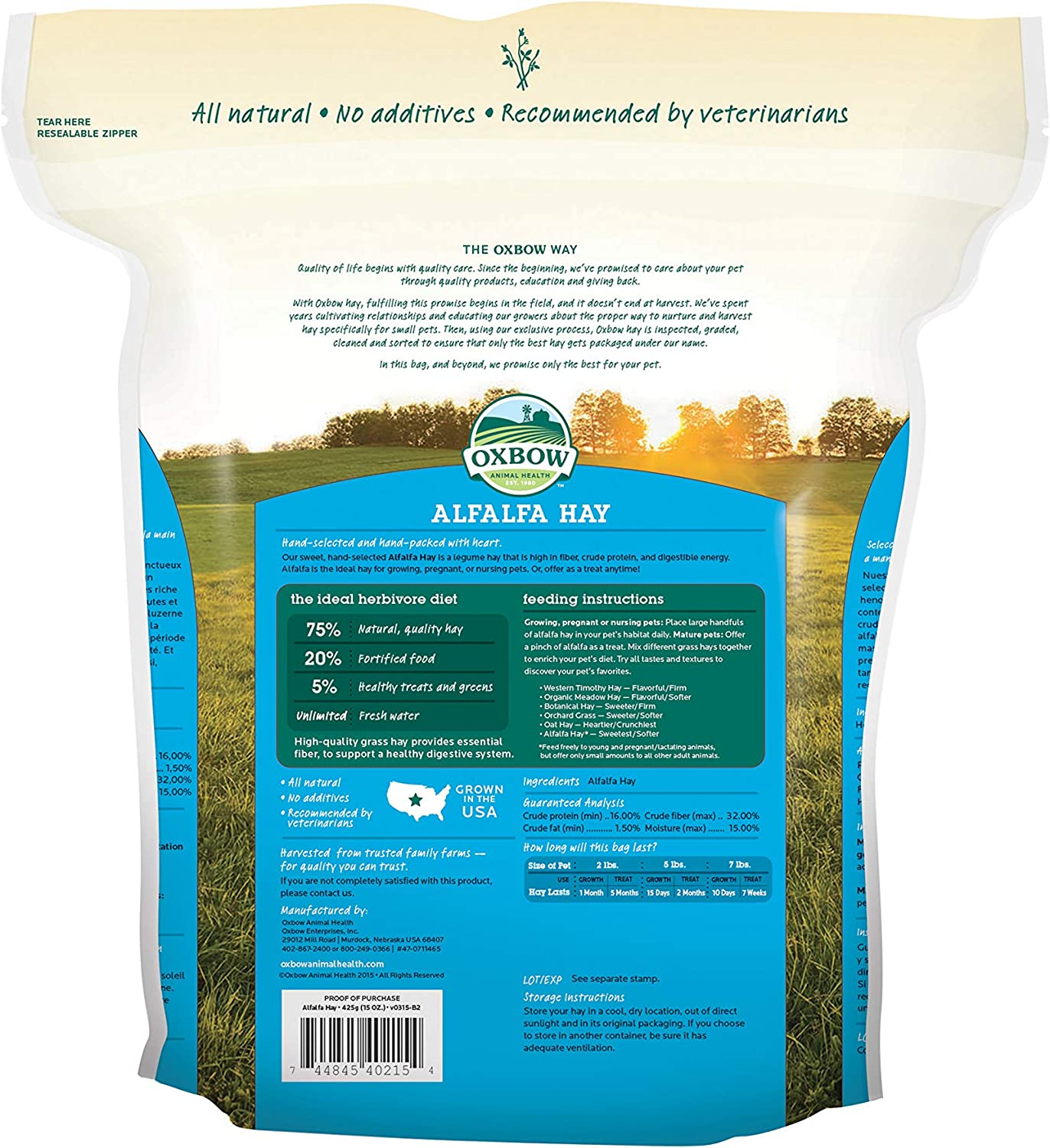 Oxbow Animal Health Alfalfa Hay, For Rabbits, Guinea Pigs, And Small Pets, Grown In The USA, Hand-Selected And Hand-Sorted, 15 Ounce: Pet Supplies
