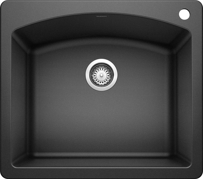 """BLANCO 440210 Diamond Silgranit Drop-In or Undermount Kitchen Sink, 25"""" X 22"""", Anthracite"""