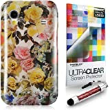 CaseiLike® Rose Pattern 2218, Shell Skin Gel Snap-on case back cover for Samsung Galaxy Ace S5830 GT-S5830 S5830T S5830i + Screen Protector + Crystal Stylus Pens (Random Color)