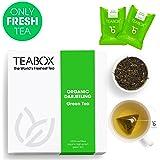 Teabox USDA Organic Darjeeling Green Tea 32g (16 Teapac Teabags)   100% Natural Ingredients   with Light, Crisp Vegetal Taste Notes   Sealed-at-Source Freshness from India