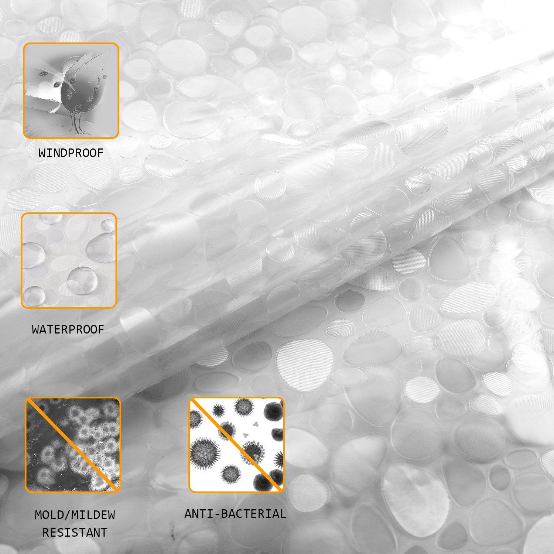Antibacteriano Blanco Semitransparente EVA Cortinas de Ducha//Ba/ñera 180X200 CM Antimoho Carttiya Cortina Ba/ño Impermeable