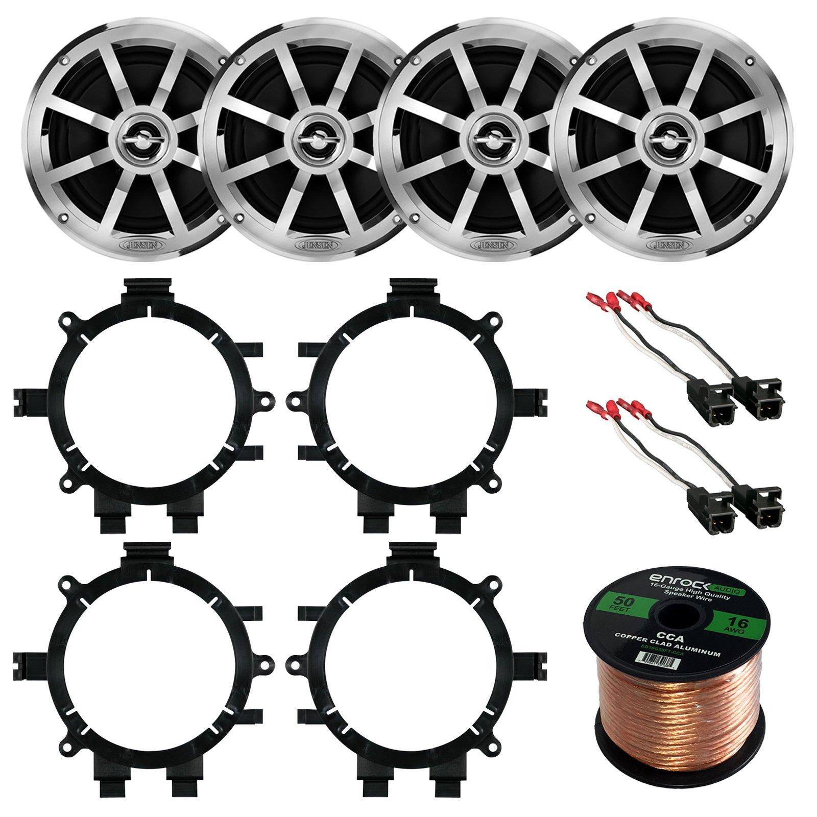 Car Speaker Bundle Combo: 2 Pairs of Jensen MSX60CPR 6.5'' Inch 150 Watts 2-Way Black Car Stereo Coaxial Speaker W/ Adapter Brackets + Wiring Harness + Enrock 50 Foot 16 Gauge Speaker Wire