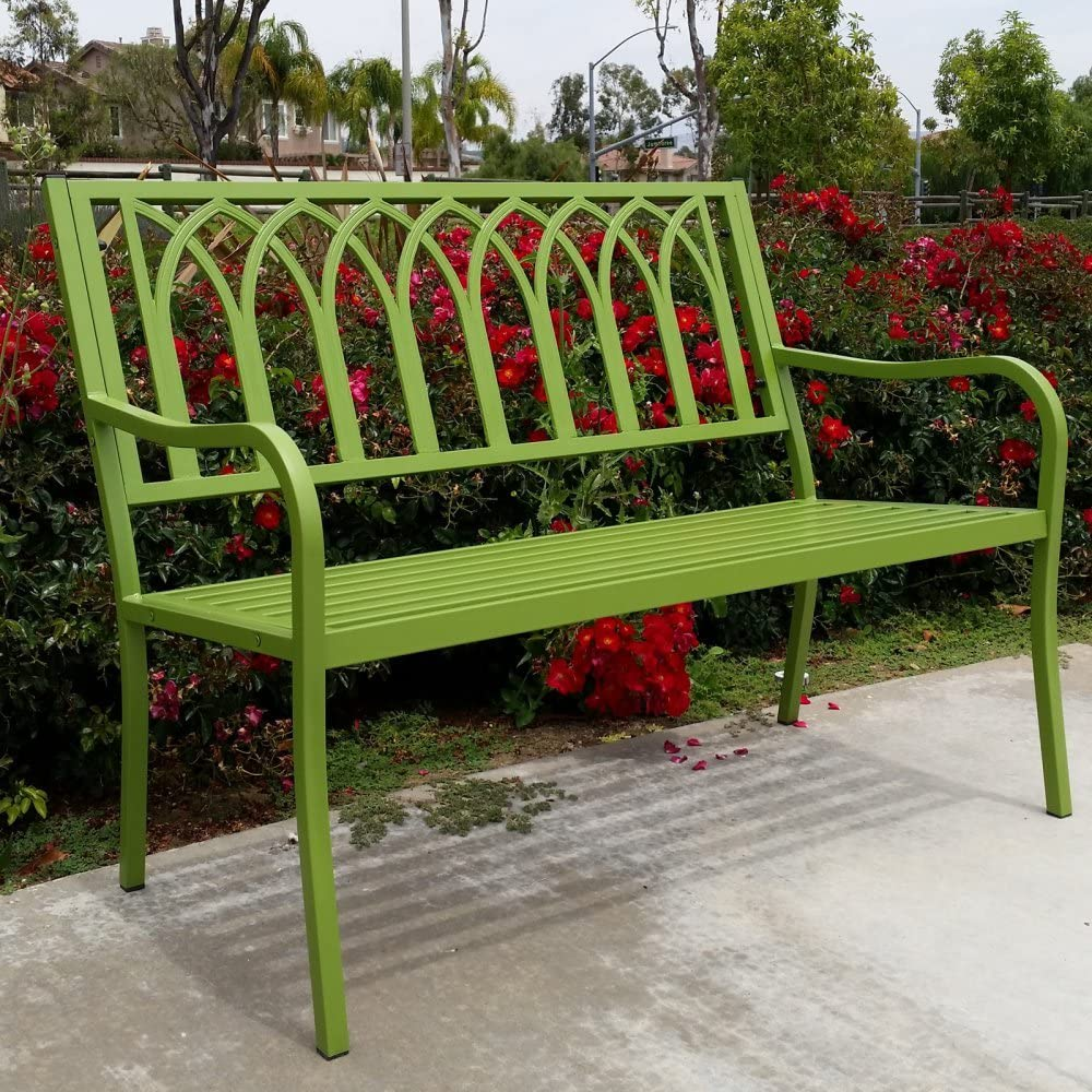 Innova Lakeside Urban Green Steel Bench