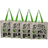 "Earthwise Large Earth Day Reusable Grocery Shopping Tote Bag featuring ""Green is the New Black"" Print ( Pack of 4)"