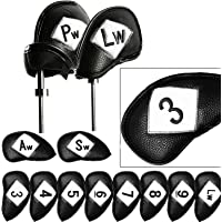 Golf Head Covers Iron Set 12 Piece 3 4 5 6 7 8 9 Lw Pw Sw Aw for Both Left and Right Handed, Leather Irons Club…