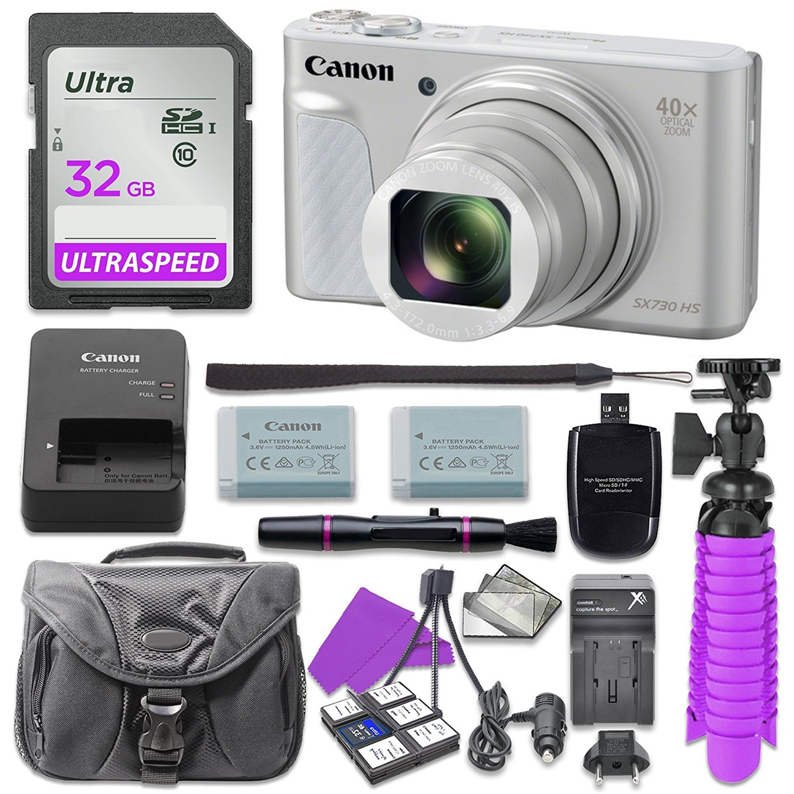 Canon PowerShot SX730 (Silver) Digital Camera with 32GB SD Memory Card + Accessory Bundle