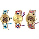 Freny Exim Analogue Multicolor Dial Women's & Girl's Combo Of 3 Watch -Geneva Hathi Effil Buttf