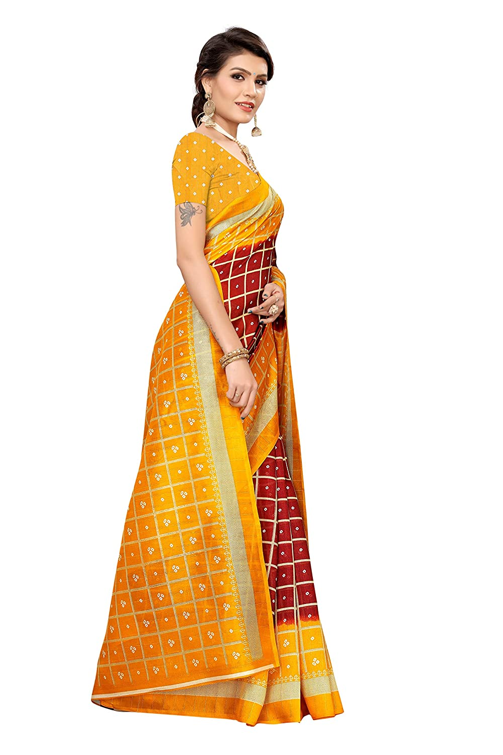 CRAFTSTRIBE Art Silk Checks Black And Orange Indian Wedding Bollywood Saree for Women