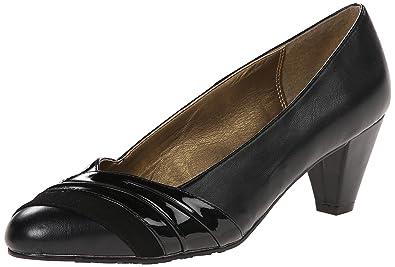 Soft Style by Hush Puppies Women's Danette dress Pump, Black  Vitello/Patent, 6