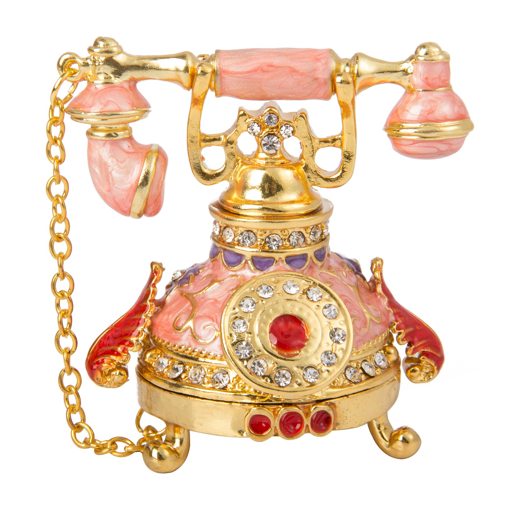 QIFU Vintage Style Telephone Shape Jewelry Trinket Box with Rich Enamel and Sparkling Rhinestones | Unique Gift for Home Decor | Best Ornament for Your Collection