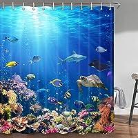 Cortina de ducha con diseño de animales marinos marinos marinos, delfín de peces tropicales con tortugas, coral…