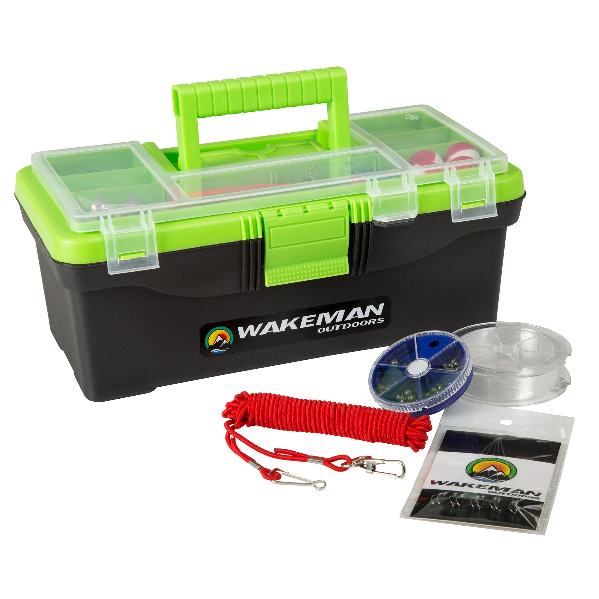 Fishing Single Tray Tackle Box- 55 Piece Tackle Gear Kit Includes Sinkers, Hooks Lures Bobbers Swivels and Fishing Line By Wakeman Outdoors Lime Green by Wakeman