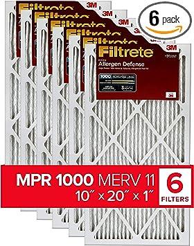 MPR 1000 Filtrete 10x20x1 4-Pack AC Furnace Air Filter Micro Allergen Defense exact dimensions 9.81 x 19.81 x 0.81