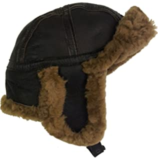 81ec83a8f7d Real Sheepskin Leather Aviator B52 trapper Hat Brown Brown fur Unisex  4H