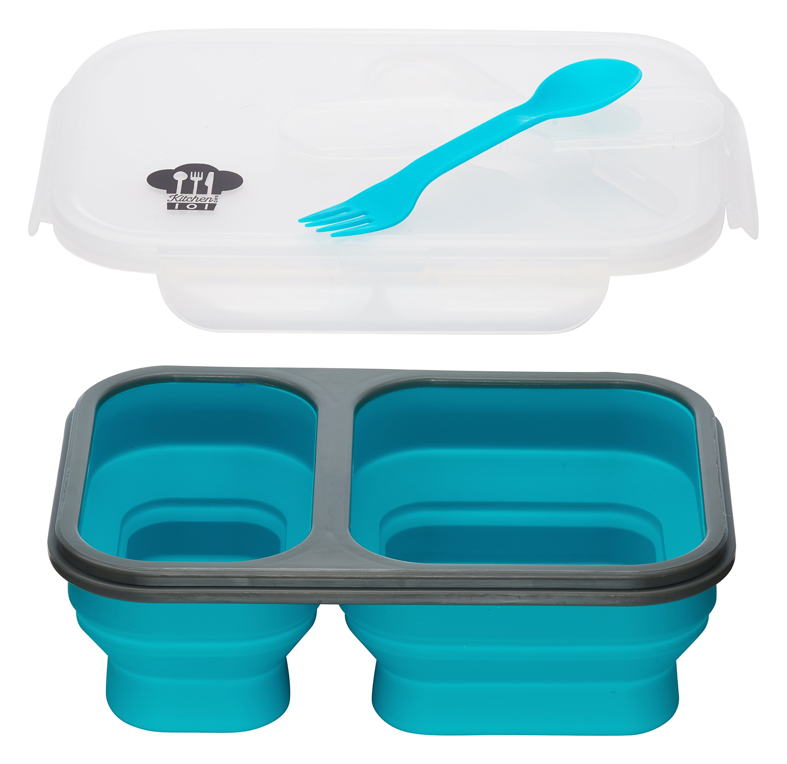 Kitchen Pro 101 Expandable & Collapsible Silicone School Lunch Box for Girls & Boys - 2 compartment Bento Box for Kids/Adults - As Seen On TV (Blue)