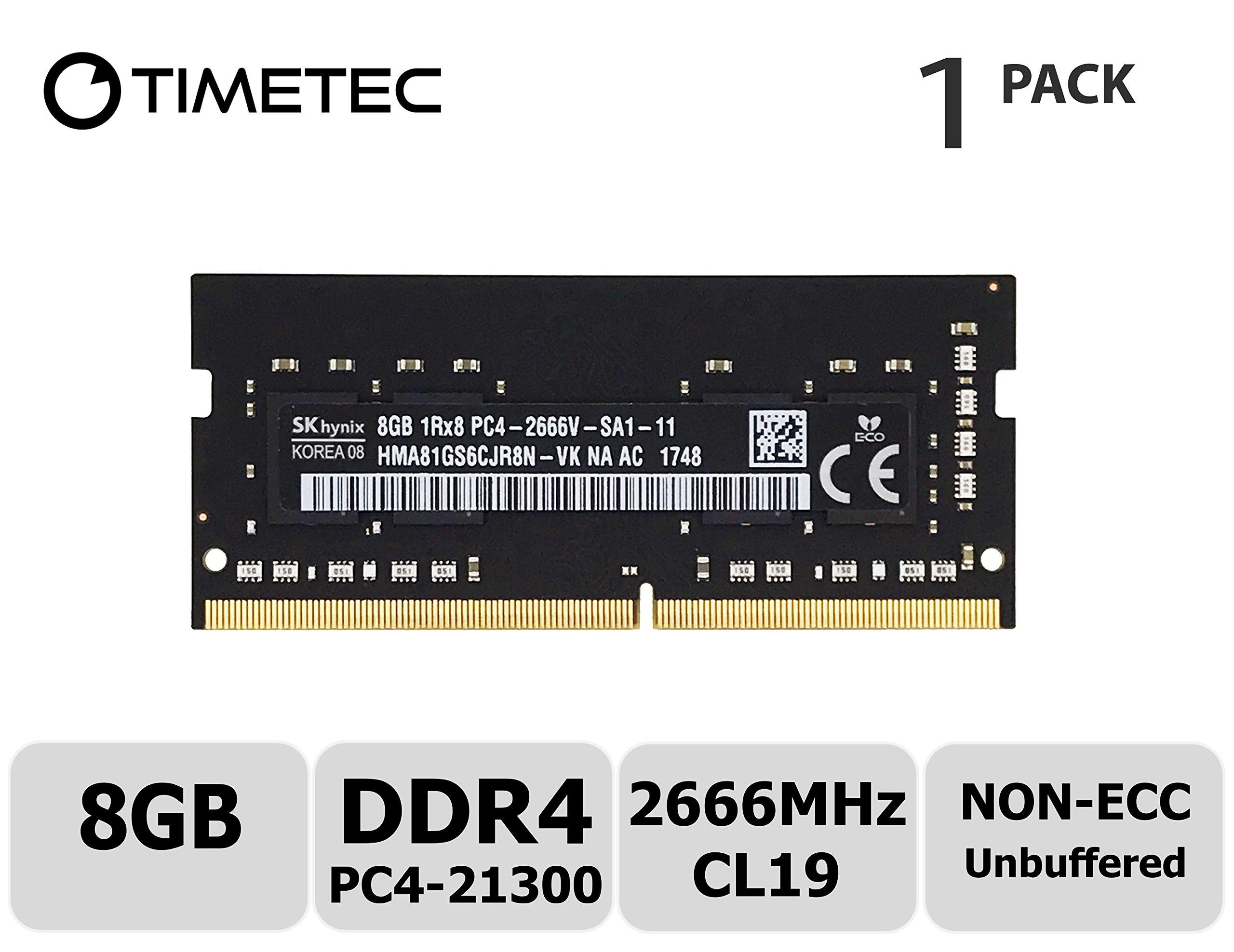Timetec Hynix 8GB DDR4 2666MHz PC4-21300 Unbuffered Non-ECC 1.2V CL19 1Rx8 Single Rank 260 Pin SODIMM Laptop Notebook Computer Memory RAM Module Upgrade (8GB)