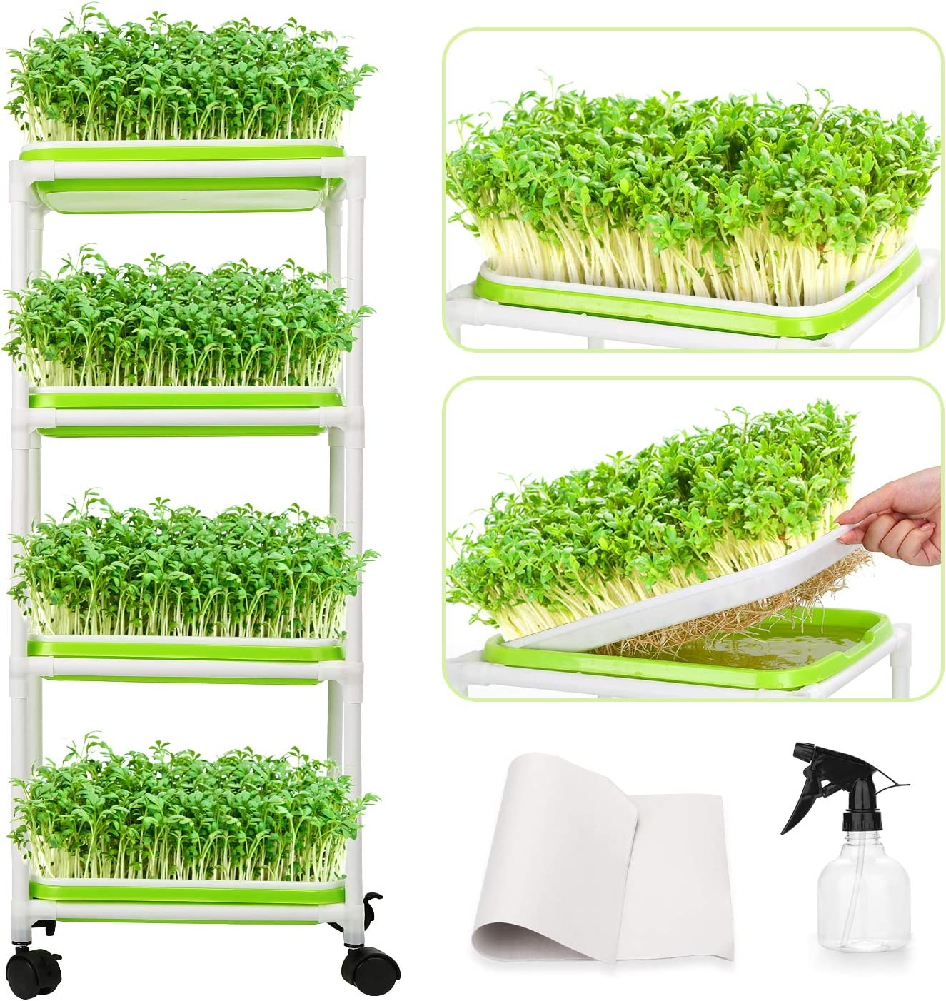 Seed Sprouter Trays with Extra Plastic Shelf Soil-Free Wheatgrass Seeds Grower & Storage Trays Planting for Garden Home Office