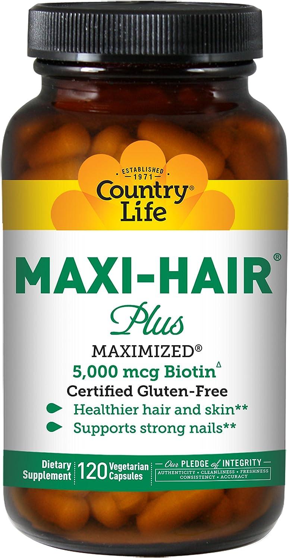 Country Life, Gluten Free, Maxi Hair Plus 5,000 mcg Biotin, 120 Veggie Caps