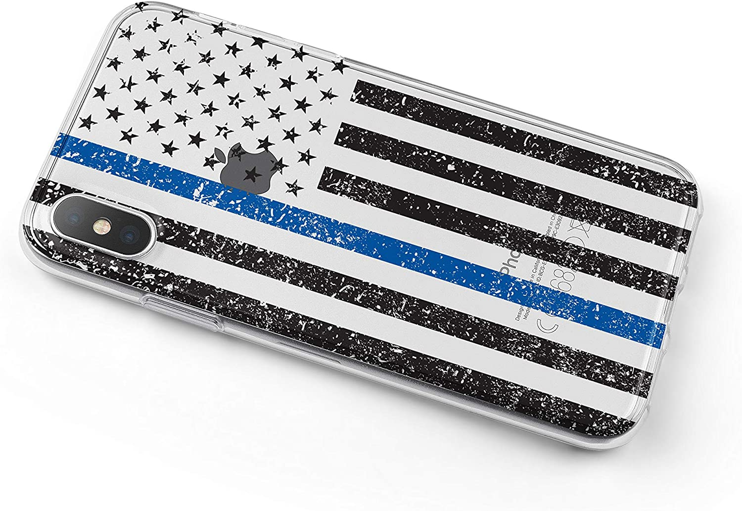 Tempered Glass Screen Protector 6.1 Screen Acrylic Back Weathered Thin Blue Line US Flag Law Enforcement Support - TPU Bumper DistinctInk Clear Shockproof Hybrid Case for iPhone XR