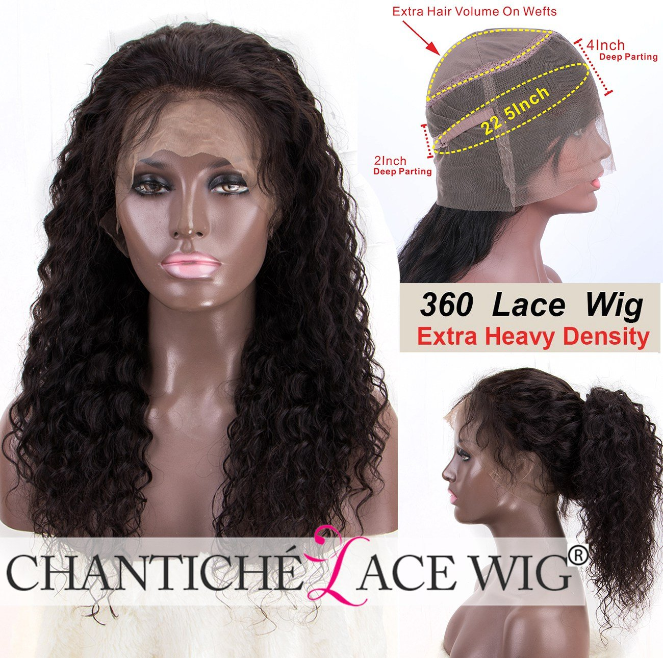 Chantiche Soft Curly 360 Lace Wig, Best Brazilian Virgin Human Hair Customized 360 Full Lace Frontal Wigs for Ladies with 150% High Density 16inches Natural Color