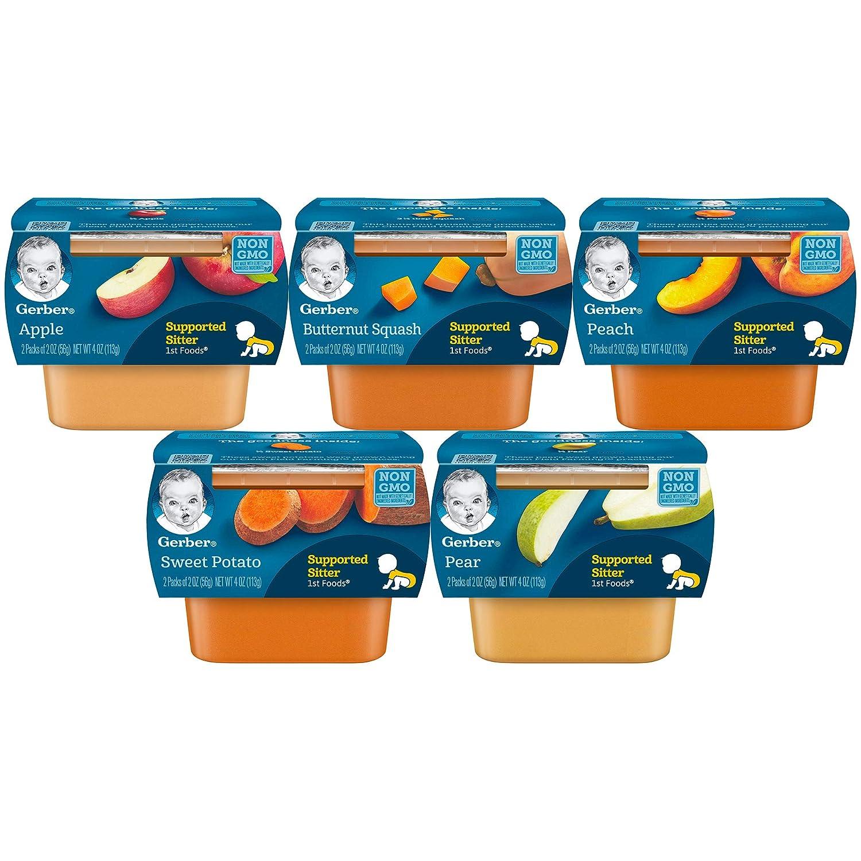 Gerber 1st Foods Tubs Fruit & Veggie Variety Pack, 3 Apple, 3 Sweet Potato, 3 Butternut Squash, 3 Peach, 3 Pear, 15-CT