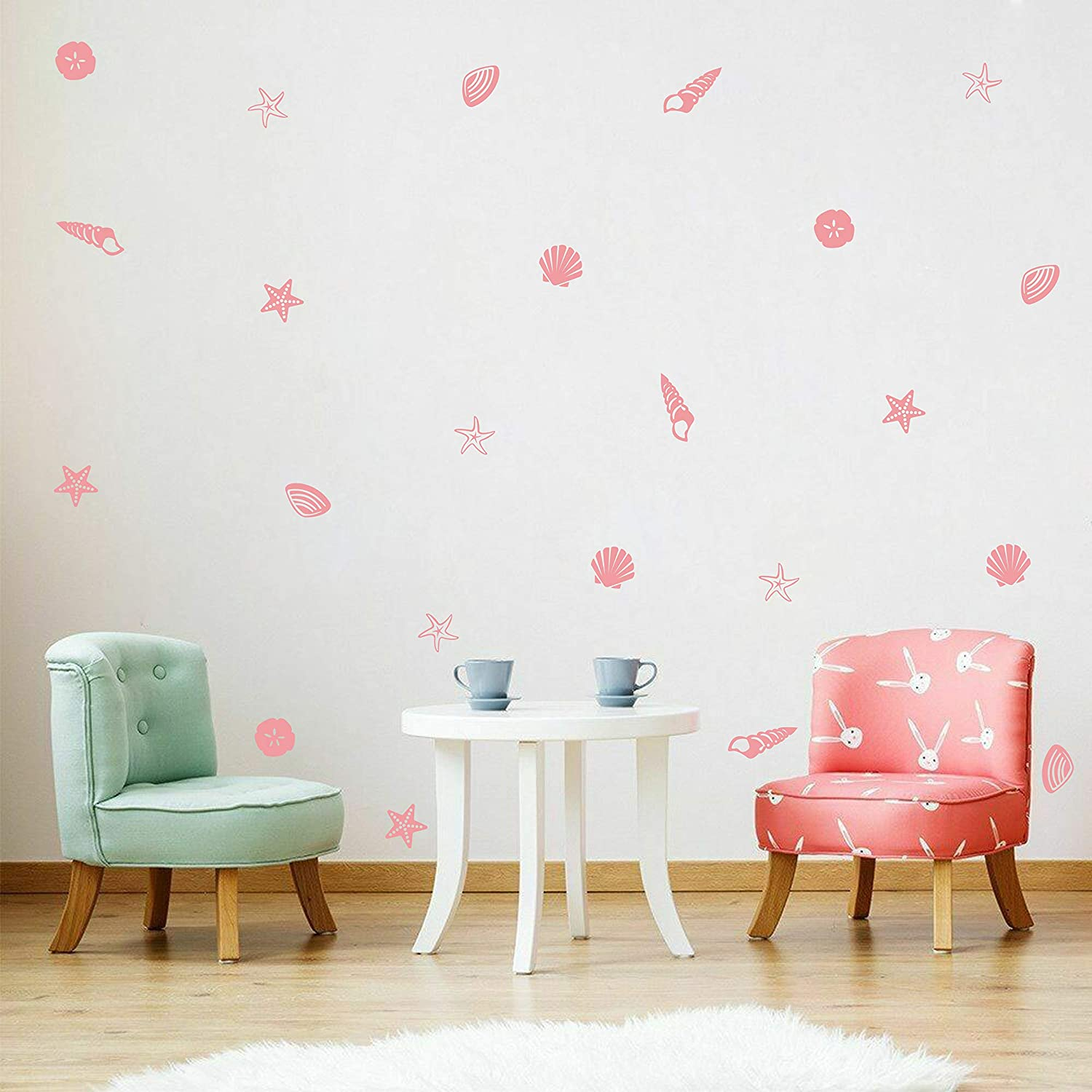 Sea Shell Wall Decals Scallop Shell Wall Decor Starfish Conch Wall Stickers Beach Theme Removable Stickers for Girls Nursery Room DDK16 (Pink)