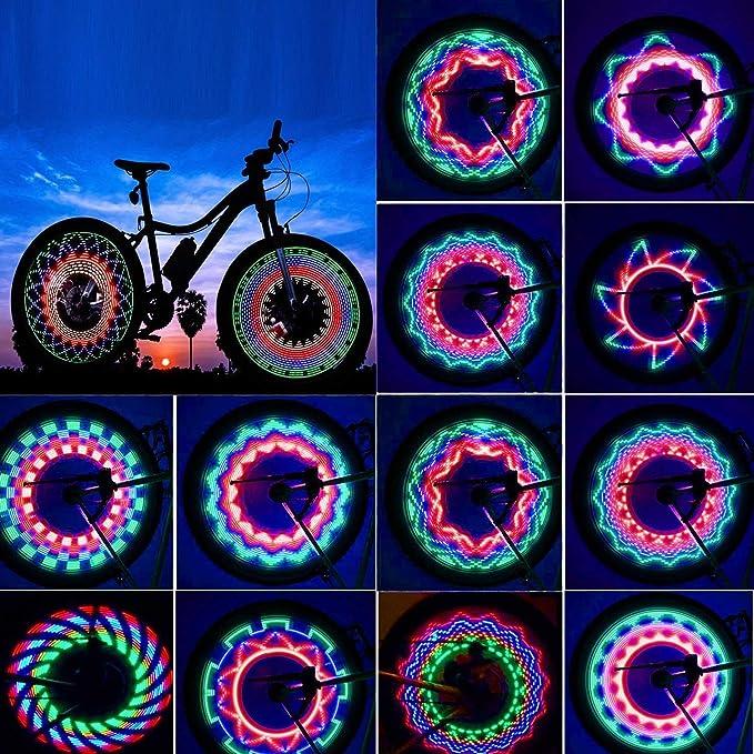 32 LED Patterns Cycling Bikes Bicycles Rainbow Wheel Signal Tire Spoke Light US^