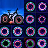 TGJOR Bike Wheel Lights, LED Waterproof Bicycle Spoke Tire Light with 32-LED and 32pcs Changes Patterns Bicycle Rim…