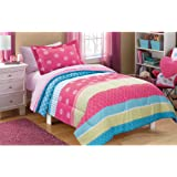 Mainstays Kids Mix It Up Bed in a Bag Bedding Set, FULL Size, Girls Comforter Set with Pink Dots, Green and Blue Stripes