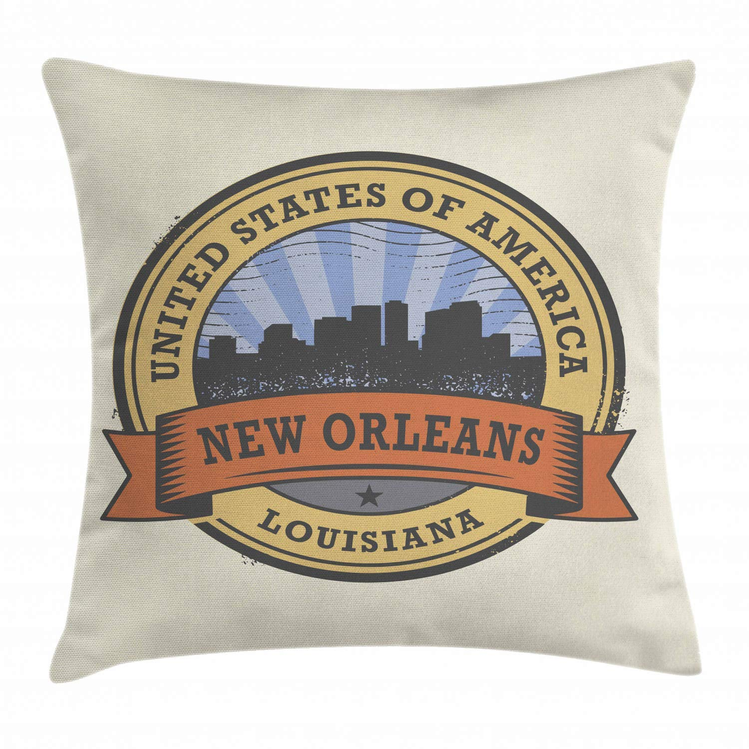 Amazon.com: Uwwrticm New Orleans Throw Pillow Cushion Cover ...