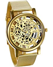 JewelryWe Mens Watches with Skeleton Dial Mechanical Retro Quartz Watches Mesh Steel Band Wrist Watches