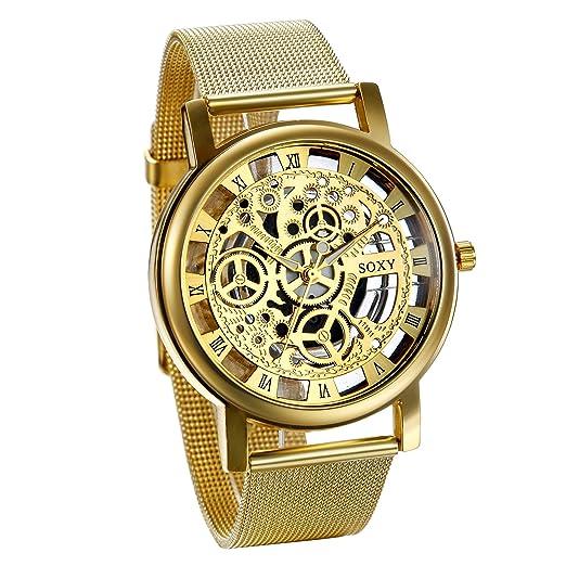 7fff8d120907 JewelryWe Reloj Dorado Para Hombre Caballero