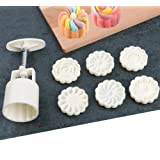 ilauke 7 Pack Mooncake Mold Rose Flower Hand-Pressure Biscuit Mould Cookie Cutter for DIY Cake Decoration