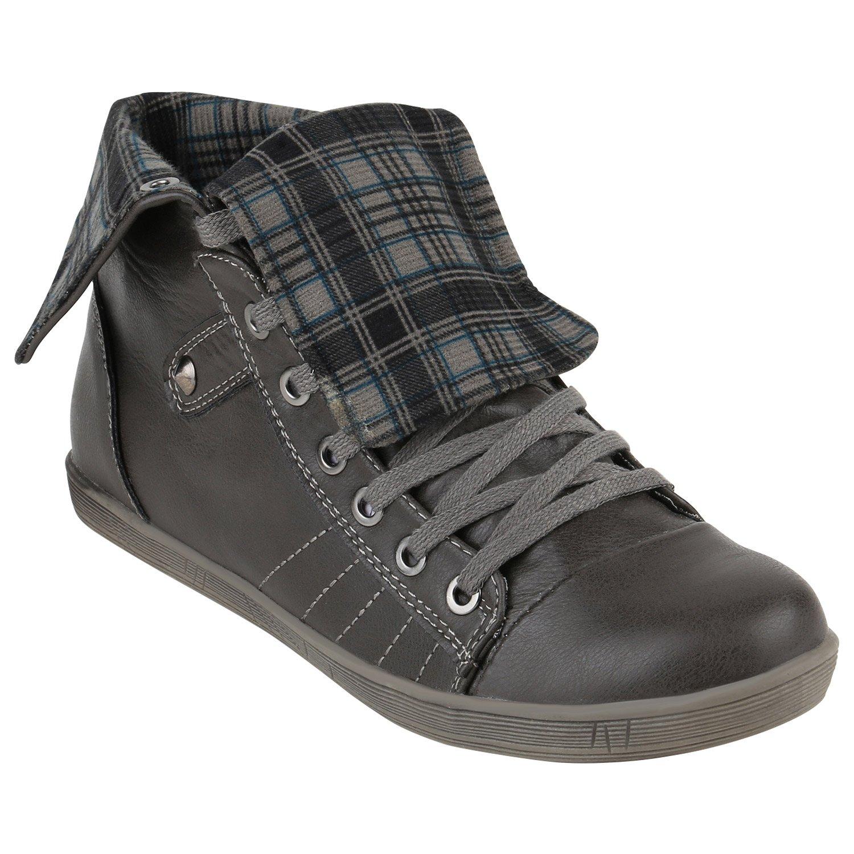 Stiefelparadies Damen Sneaker high Karo Schnallen Flandell Grau Grau Karo