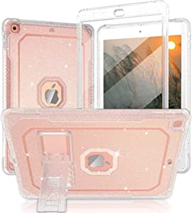 ZoneFoker Case for iPad 6th/5th Generation Case, for Apple iPad 9.7 inch 2018/2017 with Built-in Screen Protector/Stand,Clear Glitter Sparkly Full-Body Coverage Slim Cover for Girls Women Kids