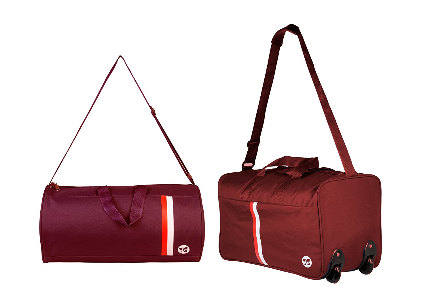 99bccbe29 3G Polyester Small-inch Strolley Duffle Bag Combo (Maroon): Amazon.in:  Bags, Wallets & Luggage