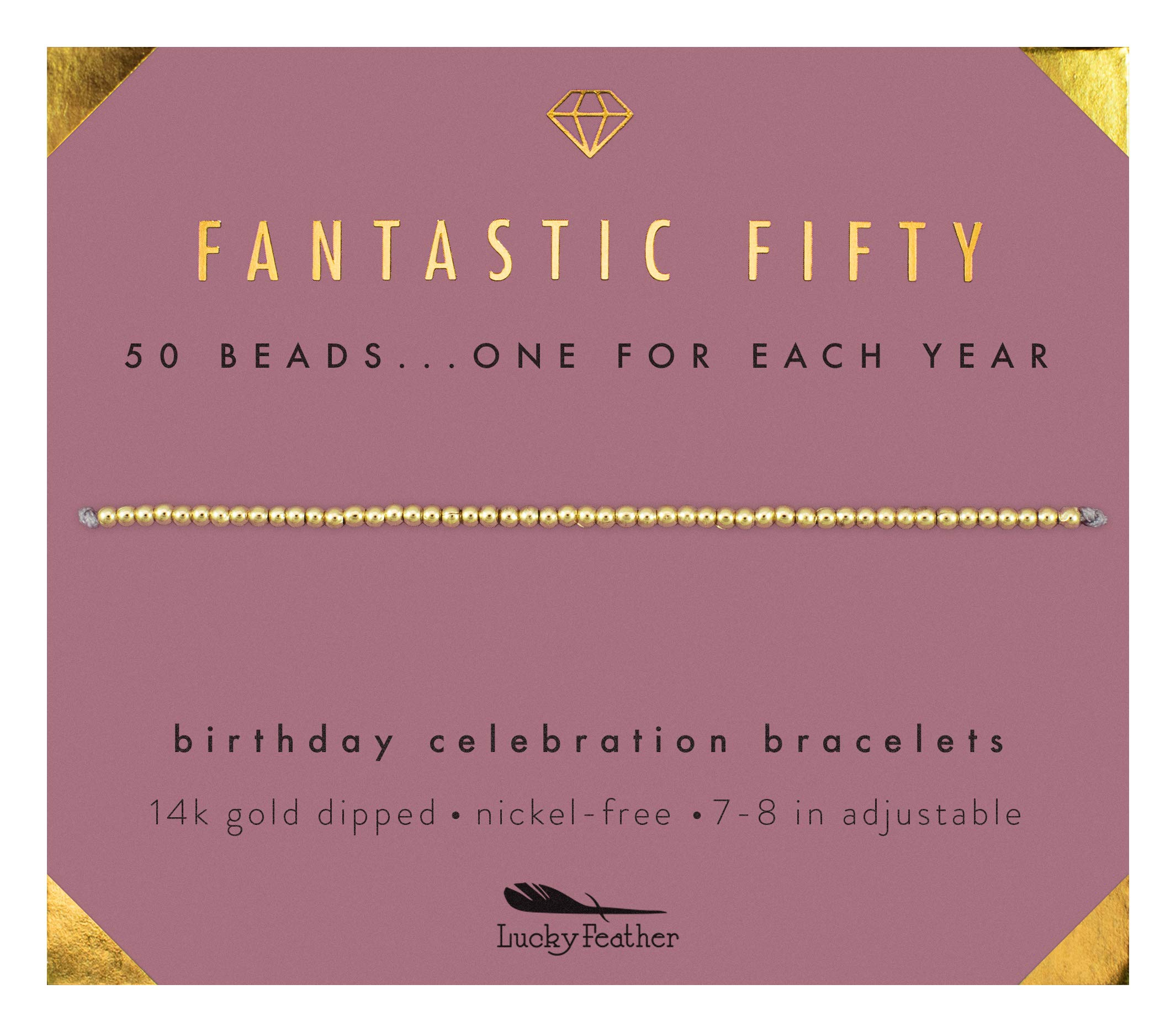 Lucky Feather 50th Birthday Gifts for Women | 14K Gold Dipped Beads Bracelet on Adjustable 7''- 8'' Cord - 50th Birthday Jewelry Gift Ideas by Lucky Feather