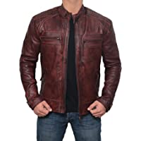 Brown Leather Jacket Men for Bikers - Distressed Lambskin Waxed Motorcycle Leather Jacket