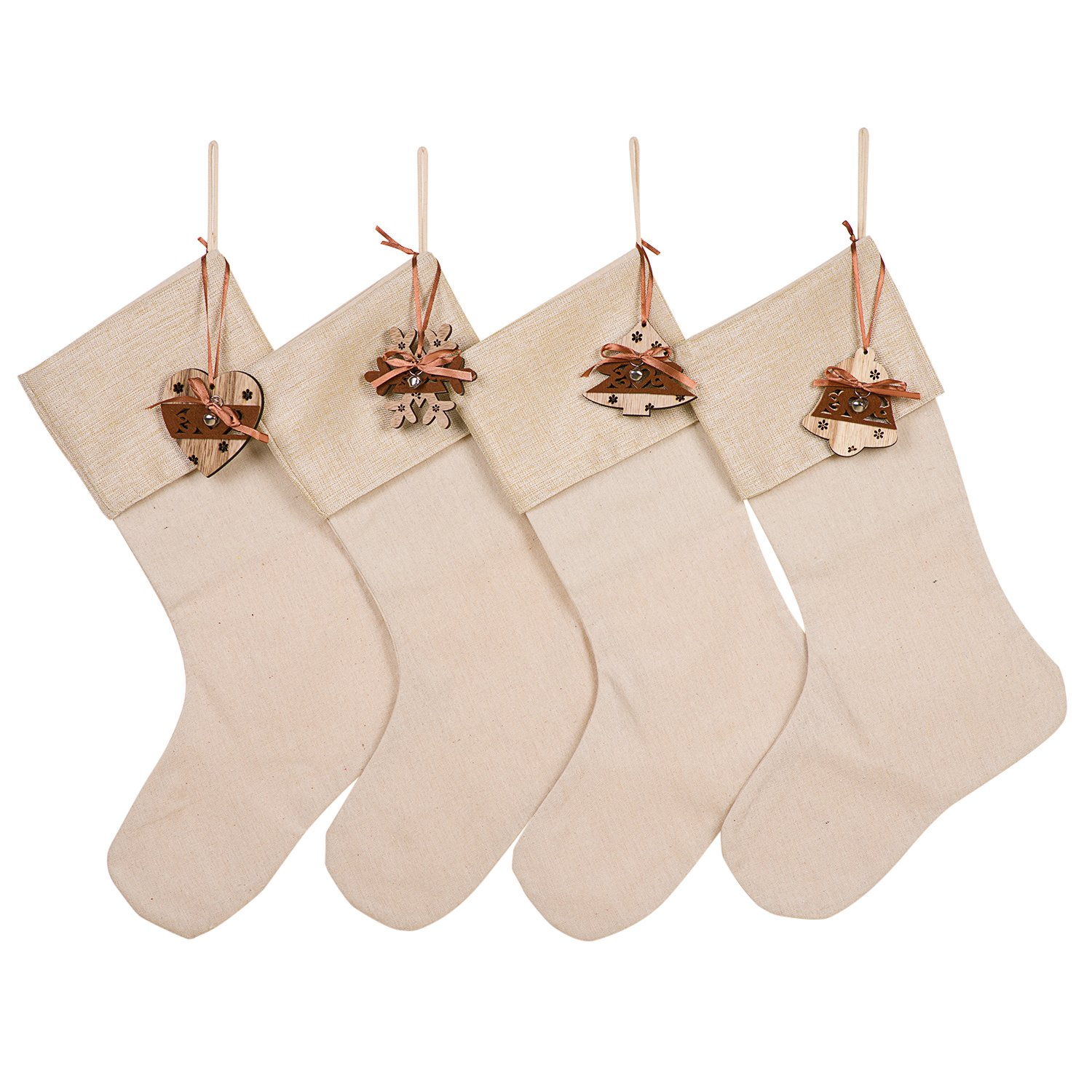 HUAN XUN Wood Heart Tree Snoflower Bell Set of 4 Christmas Stockings