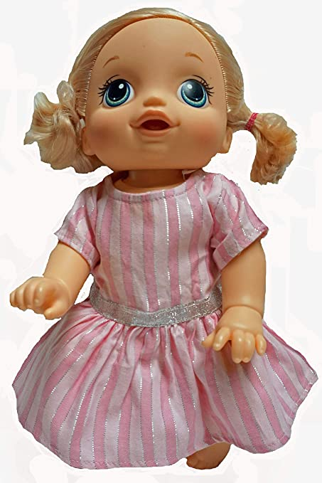 2c952b7ba04 Amazon.com: Doll Clothes Super store Pink Dress with Silver Stripes ...