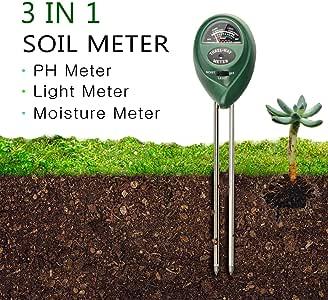 Test de pH suelo suelo Análisis Juego Test Jardín suelo medidor PH Medidor de 3 en 1 Suelo Tester No batería suelo humedad Meter Medidor de pH Luz grosor metros para Jardín