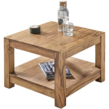Wohnling Couchtisch Massiv-Holz Akazie 60 x 60 cm Wohnzimmer-Tisch ...