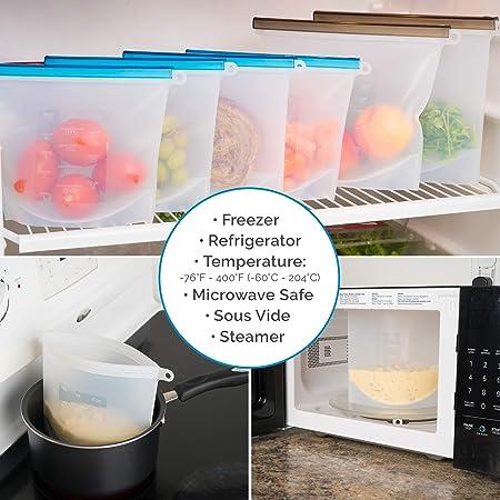 Amazon.com: Bolsa de alimentos de silicona reutilizable ...