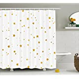 Gold and White Shower Curtain by Ambesonne, Outer Space Galaxy Stars for Kids Party Birthday Christmas Theme Image, Fabric Bathroom Decor Set with Hooks, 70 Inches, Yellow and White