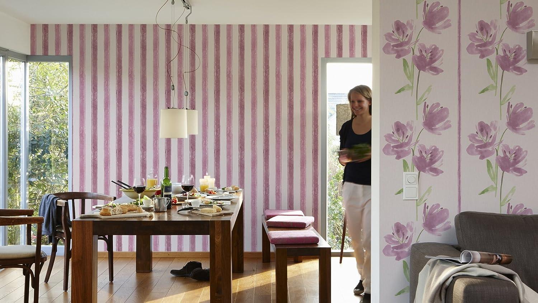 Esprit Home papel pintado Flashing Up beige lila 10,05 m x 0,53 m 331557