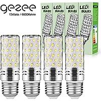 Gezee LED Argent Maïs ampoules E27 15W Candélabre ampoules 120W équivalent, 1500Lm, Blanc Froid 6000K ampoules LED Lustre décoratifs, non dimmable, Lot de 4