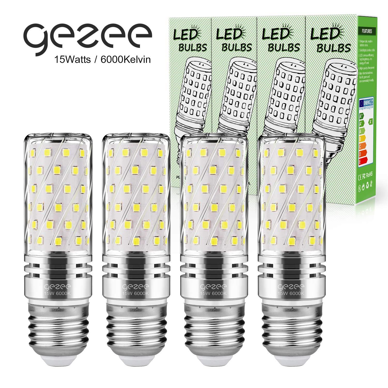 Gezee LED Plata Maíz Bombillas 15W E27 6000K Blanco Frío LED ...